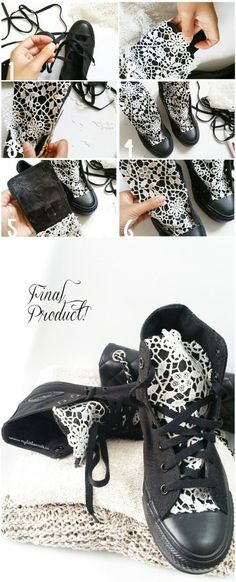 DIY - Crafts that you can do with lace Cool DIY .- DIY – Handwerk, das Sie mit Spitze machen können Coole DIY-Ideen für Mode DIY – Crafts that can do you with lace Cool DIY ideas for fashion … - Diy Lace Converse, Converse Sneakers, Lace Sneakers, Sneakers Fashion, Fashion Shoes, White Converse, Fashion Jewelry, Diy Lace Shoes, Fashion Bracelets