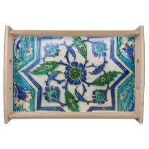 Blue and white floral Ottoman era tile design Serving Platter