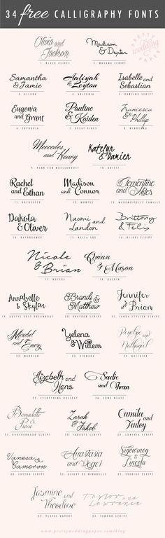 34 FREE calligraphic script fonts for hand-lettered, flowing wedding stationery! All the fonts listed below are absolutely free for personal use (some are free for commercial use, too – check the license! Wedding Invitation Fonts, Modern Wedding Invitations, Wedding Stationery, Diy Invitations, Wedding Card, Diy Wedding, Calligraphy Invitations, Wedding Ideas, Calligraphy Fonts Free