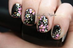 Japanese Kimono Inspired Nail Art - The base is OPI Black Onyx with Color Club Gingerbread Man, followed by a loose gold holographic glitter. The flowers are done with acrylic paint and a few gold bullion beads on the ring finger for the centers of the flowers.