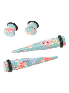 Acrylic Light Blue Pink Floral Taper And Plug 4 Pack