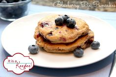 Blueberry Pie Pancakes - maybe i'm getting fixated on blueberries because our season in Florida was awful, and I am tempted to rob our stash in the freezer. but these look wonderful. Breakfast For Dinner, Breakfast Dishes, Breakfast Recipes, Perfect Breakfast, Whole Wheat Pancakes, Pancakes And Waffles, Healthy Blueberry Pancakes, Best Slow Cooker, Tasty Kitchen