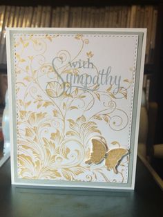 Hero Arts Leafy Vine background stamped with Delicata Golden Glitz ink, sentiment and butterfly die cut from Papertrey Ink's Happy Trails and Think Big Favorites sets.