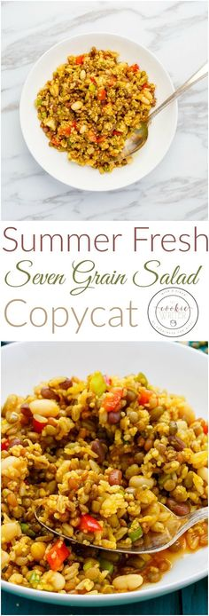Summer Fresh Seven Grain Salad Copycat Recipe | http://thecookiewriter.com | @thecookiewriter | #salad | The copycat version of this Summer Fresh Seven Grain Salad is super easy to make (whether you go with uncooked beans or canned beans,) and is vegetarian!