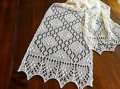Шикарный палантин-шарф спицами с каймой. Ажурный палантин спицами схемы и описание