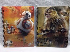 Star Wars Force Awakens Spiral Notebook 80 wide ruled  BB-8 Chewbacca 2-ct #Disney