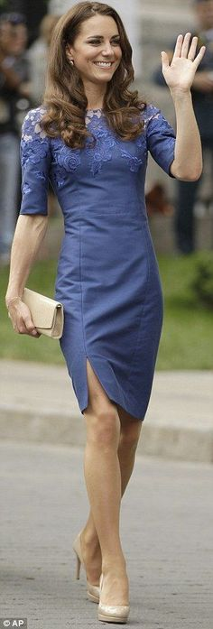 Canada 2011: Stunning: The electric blue dress was designed by Erdem, the same designer who produced the navy-blue lace dress that Kate wore on her arrival into Ottawa on Thursday