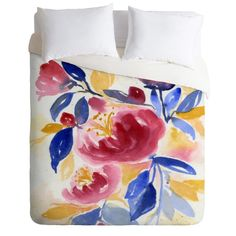 Abundance Duvet Cover in a wildly colorful watercolor design. Add a pop of color to your bedroom decor. Available in Twin/Queen/King