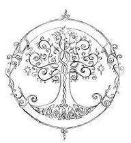 "Tree of life tattoo between shoulder blades with ""courage family hope love peace"" around it  