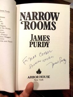 """James Purdy, """"Narrow Rooms"""", 1978 (from my private 1st edition signed books collection)"""
