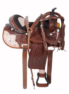 Be pretty in pink and fast with this barrel racing saddle. This beautiful saddle features a medium dark oil finish with pink ostrich print on the seat, skirt and latigo carrier. The premium leather is hand carved with the classic floral and basket tooling. Silver conchos and pink gems round out this amazing one of a kind saddle.  ONLY $399.99