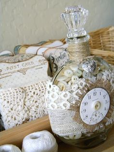 Love this sweet altered bottle full of beautiful buttons...and check out her lace cards, GORGEOUS!