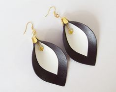 Flower Earrings - Leather Calla Lily Earrings in Dark Violet and White with Yellow Faceted Gemstone  by starrydayshop, via Flickr