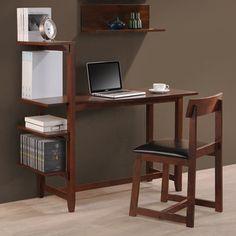 Hamburg Contemporary 4-tier Bookshelf, Desk, and Faux Leather Desk Chair Study Set | Overstock.com Shopping - Great Deals on International Caravan Desks