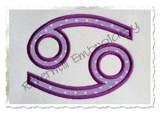 $2.95Applique Cancer Astrology Symbol Machine Embroidery Design
