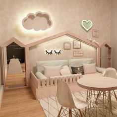 The mirror with dress hanger, and picked fence as bed handle Kids Bedroom Designs, Cute Bedroom Ideas, Baby Room Design, Home Room Design, Room Ideas Bedroom, Girls Bedroom, Toddler Room Decor, Toddler Rooms, Baby Room Decor
