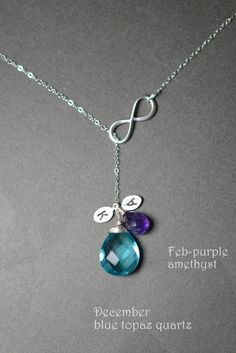 Mother daughter jewelry, personalized,Infinity necklace,custom birthstone,2 initial leaf,charm,pendant.Lariat necklace.Infinity jewelry,gift on Etsy, $37.99