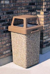 30 Gallon Concrete 4 Way Open Top Outdoor Waste Container TF1016
