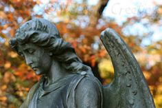 Statuary In Cemetery Send Me An Angel In Fall by NSEWindCreations, $8.00