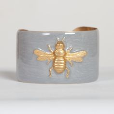Wimberley 1.5 inch Cuff Bracelet - Silver with Gold Bee - usd 44