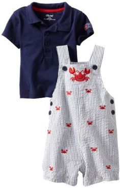 Little Me Baby-Boys Ant Crab Woven Shortall Set, Blue, 24 Months Little Me. $24.00