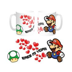 TAZA DESAYUNO REGALO ORIGINAL - MARIO BROS. ERES MI VIDA Khaleesi, Mario Bros, Coffee Mugs, Projects To Try, Clip Art, Cool Stuff, Day, Calla Lilies, Personalized Coffee Mugs
