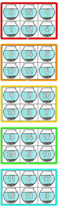 Leuk, bingo! (als je kleine visjes hebt, kun je die als 'fiches' gebruiken)