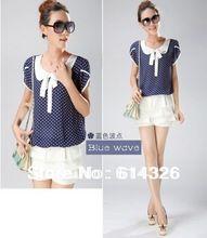 2015 New Summer Women Clothing Fashion Bow Chiffon Women Blouses Elegant Polka Dot Loose Plus Size Women Shirt blusa Feminina(China (Mainland))