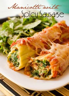 Manicotti stuffed with Spicy Sausage! Healthy and surpringly low calories! :)