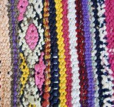 Boucherouite kleden vintage : Marokkaans Kelim kleed 18 210 x 157 cm