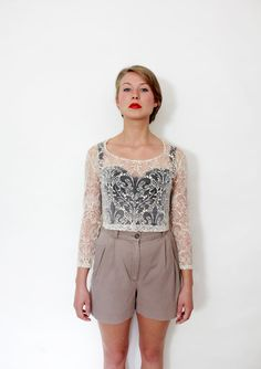 Vintage blouse / 90s white sheer crop top / SM by nemres on Etsy, $19.00