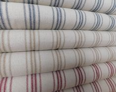 Farmhouse Fabric By Yard Grain Sack Continuous Cut Upholstery Weight Feedsack Striped Blue or Red or Tan Ticking Fabric 54 inches wide Farmhouse Style Curtains, Farmhouse Fabric, Farmhouse Table Runners, Sweet Annie, Ticking Fabric, Linen Fabric, Country Living Magazine, Grain Sack, Feed Sacks