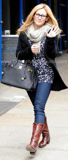 fba2dbb72bf cowboy boots jeans black and white shirt black opened sweater neutral  colored scarf carryall purse Hilary