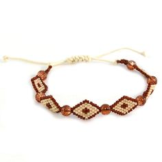 Adjustable Brown and Tan Summer Bracelet | www.MegansBeadedDesigns.com