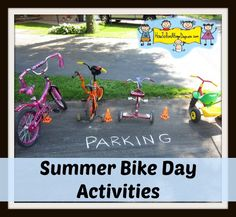 Host a Bike Afternoon this summer for your daycare children. Simple Bike Stations-Washing Station, Air Pump Station, Decorating Station, etc.  Great for kids aged 18 months to school age. Craft Activities For Kids, Summer Activities, Games For Kids, Kids Daycare, Home Daycare, Daycare Rooms, Bike Decorations, Bike Parade, Starting A Daycare