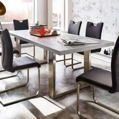 Savona Rectangular Dining Table In Grey With Stainless Steel Legs Finish: Wood Grey finish sealed (stone look) Only Dining Table is included Features: Extendable Dining Room Table, White Dining Table, Table And Chairs, Dining Bench, Small Dining, Tables, Diner Table, Large Table, Furniture