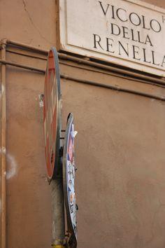 #street #VicolodellRenella #Rome #Trastevere #wall #streetsign