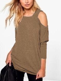 Khaki Off The Shoulder Long Sleeves T-shirt