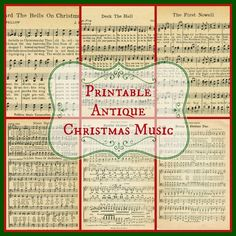Printable Christmas Music antique pages | www.knickoftime.net