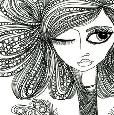 cool face and hair zentangle design - Zentangle - More doodle ideas - Zentangle - doodle - doodling - zentangle patterns. zentangle inspired - by FRED 26 Zentangle Drawings, Zentangle Patterns, Doodle Drawings, Doodle Art, Doodle Ideas, Zentangles, Doodle Patterns, Zen Doodle, Buch Design