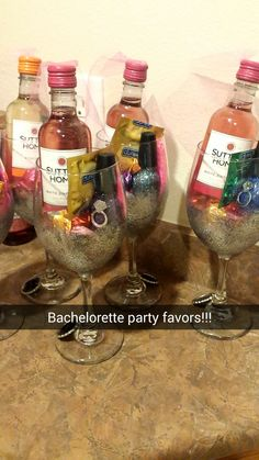 Bachelorette Party Favors! Total of about $13-$15 each! Large wine glass - $1 each Dollar Tree Individualized Wine Charms - $2.50 https://www.etsy.com/transaction/1015225704 Martha Stuart Multi Surface Glitter Paint $2.99 Foam Pouncer Sponges Ashland Acrylic Decorative Bead Fillers - Clear Diamonds and Black Marbles for bottom of glass 2 - 4 Packs of Sutter Home Wine - $4.99 Durex Tropical Flavored Condoms - $5.88 per 12 pack Sinful Glitter Nail Polish $1.99 Godiva Chocolates $3.99 per b...