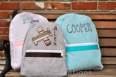 Great Personalized Seersucker Back Packs for the little kiddos.  Only $32.50 with applique