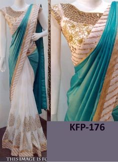 Buy Rama Green And Off White Paper Silk With Georgette Saree