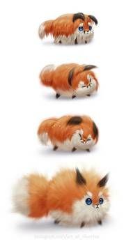 Instafloof by on DeviantArt, Cute Kawaii Drawings, Cute Animal Drawings, Cute Little Animals, Cute Funny Animals, Cute Fox, Fox Art, Anime Animals, Cute Creatures, Furry Art