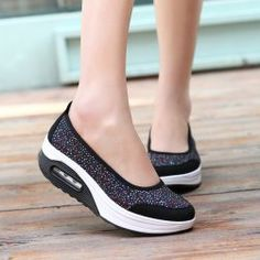 Buy Casual Canvas Sneakers Shake Shoes Breathable Ladies Trainers Wedge Hommes Chaussure Femme Girls Walking Shoes for Women Zapatos Mujer at Wish - Shopping Made Fun Platform Shoes, Slip On Shoes, Workout Shoes, Beautiful Shoes, Summer Shoes, Womens Flats, Comfortable Shoes, Shoes Online, Fashion Shoes
