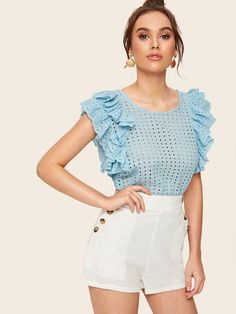 To find out about the Flounce Sleeve Button Keyhole Eyelet Embroidery Blouse at SHEIN, part of our latest Blouses ready to shop online today! Look Fashion, Fashion Outfits, Trendy Tops, Types Of Sleeves, Blouse Designs, Blouses For Women, Ideias Fashion, Casual Outfits, Begonia