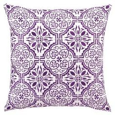 """Embroidered with elaborate lilac medallions, this linen-wrapped pillow adds a splash of bohemian flair to your bed or favorite arm chair.  Product: PillowConstruction Material: 100% Linen cover and down fillColor: LilacFeatures:  Insert includedEmbroidered details Dimensions: 18"""" x 18""""Cleaning and Care: Spot clean"""