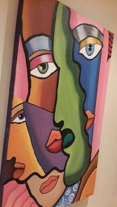 Fused glass Simple Canvas Paintings, Diy Canvas Art, Afrique Art, Abstract Face Art, Cubism Art, African Paintings, Acrylic Artwork, Learn Art, Arte Pop