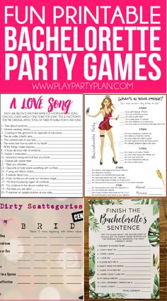 20 funny and unique bachelorette party games that work whether you're headed to a hotel or staying at home! Everything from a man scavenger hunt to tons of printable girls night games, there are hilarious ideas for every type of party! Love that this includes classy, not so raunchy games as well as less classy ones like the DIY bra pong game! And even some free and easy printable questions for bride games!
