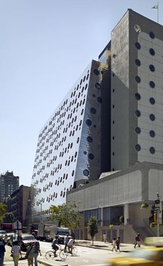 A New York hotel with porthole windows that give it an uncanny resemblance to children's game Connect Four.